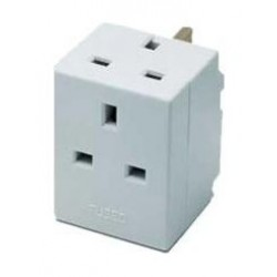 Masterplug Indoor Power 3-Way Fused Adapter - White