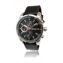 Borelli Gents Quartz Analog 44mm Sportive Leather Watch (20046241) - Black