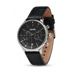 Borelli 42mm Gent's Chronograph Leather Watch (20050031) - Black