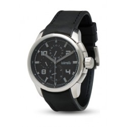 Borelli 48mm Gent's Chronograph Leather Watch (20050043) - Black