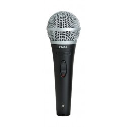 Shure Cardioid Dynamic XLR to 1/4-inch Vocal Wired Microphone (PG58-QTR) - Black