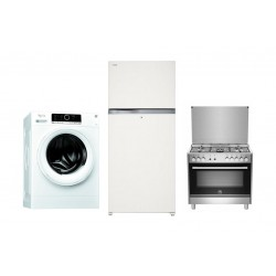 Whirlpool 7kg Front Load Washing Machine + Toshiba Inverter 25 Cft. Top Mount Refrigerator + La Germania 90x60 Gas Cooker