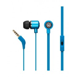 Wicked Panic Flat Cord In-Ear Wired Earphones with Mic - Blue