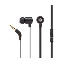 Wicked Panic Flat Cord In-Ear Wired Earphones with Mic - New Moon Black