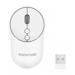 Promate Clix-2 2.4Ghz Portable Wireless Mouse with Nano USB Receiver - White