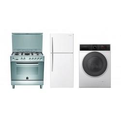 Lagermania 80x50 cm 5-Burner Floor Standing Gas Cooker + Daewoo 16 Cft. Top Mount Refrigerator + Daewoo 8 Kg 1200 RPM Washer