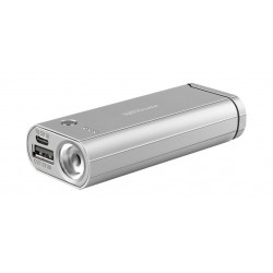 Promate 6000mAh 3-In-1 Portable Power Bank with Lighter - Silver