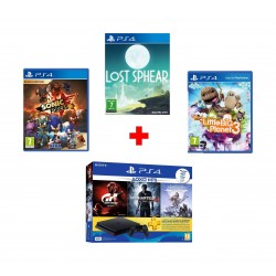 Sony PlayStation 4 Slim 500GB + Gran Turismo + Uncharted 4 + Horizon Zero Dawn + 3 Months PSN Card + Little Big Planet 3 - PS4 Game + Sony Sonic Forces: Digital Bonus Edition PS4 Game (SOFT-PS4-SONIC-FOR) + Lost Sphear - PS4 Game