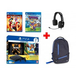 PlayStation 4 Slim 1TB + COD Black Ops + Crash Bandicoot + PSN 1 Month + Lego The Incredibles + Spyro Reignited Trilogy + 4Gamers PS4 Premium BackPack (4G-5003) + Sony Tritton Kunai Stereo Gaming Headphone - Black