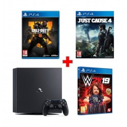 Sony PlayStation 4 Pro 1TB Gaming Console (PAL) – Black + Just Cause 4 + Call of Duty: Black Ops 4 + WWE 2K19 - PlayStation 4 Game