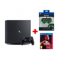 Bigben Nacon PS4 Wired Compact Controller - Green + Sony PS4 Pro 1TB Gaming Console (PAL) – Black + FIFA 20 Champions Edition - PlayStation 4 Game