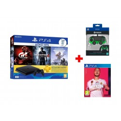 Sony PlayStation 4 Slim 500GB + Gran Turismo + Uncharted 4 + Horizon Zero Dawn + 3 Months PSN Card + Bigben Nacon PS4 Wired Compact Controller - Green + FIFA 20 Standard Edition - PlayStation 4 Game