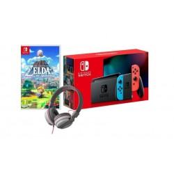 Nintendo Switch Console Neon + The Legend of Zelda Link's Awakening + Snakebyte Stereo Headphone