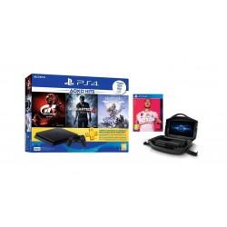 Sony PlayStation 4 Slim 500GB + 4 PS4 Games + 3 Months PSN Card + Gaems Vanguard Black Edition Bag