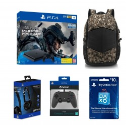 Playstation 4 1TB + Call of Duty: Modern Warfare + 4Gamers Wired Gaming Headphone (PRO4-40) + EQ Backpack for up to 17.3-inch Laptop + Bigben Nacon PS4 Wired Compact Controller - Black + PlayStation Card USA $10