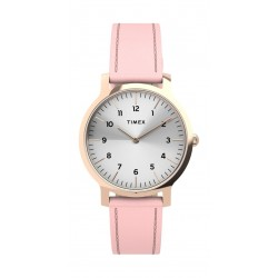 Timex 34mm Casual Ladies Analog Leather Watch (TW2U22700) - Pink