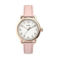 Timex 34mm Casual Ladies Analog Leather Watch (TW2U13500) - Pink