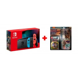 Nintendo Switch Console Neon Extended Battery + Hotel Transylvania 3: Monsters Overboard Nintendo Switch Game +Travel Case