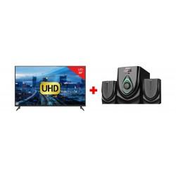 Wansa 50-inch Ultra HD Smart LED TV - WUD50G7762SN2 + Wansa 2.1Ch 40W FM USB Mini Multimedia System (TK-521)