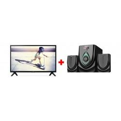 Philips 32 inch HD LED TV - 32PHT4002 + Wansa 2.1Ch 40W FM USB Mini Multimedia System (TK-521)