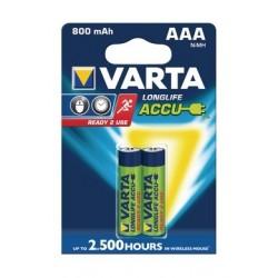 Varta Rechargeable ACCU 2 AAA Nickel-Metal Battery 800 mAh