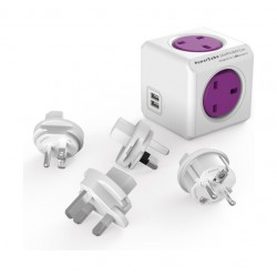 Allocacoc PowerCube Travel 4x Socket with Dual USB Port (7700) - White