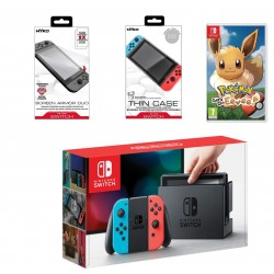 Nintendo Switch Portable Gaming System + Pokemon Let's Go - Eevee! - Nintendo Switch Game + Nyko Screen Armor for Nintendo Switch - Tempered Glass + Nyko Thin Case for Nintendo Switch - Clear