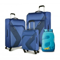 It comes with a backpack Made from a mix of durable high quality materials 4 multidirectional wheels and a double handle offer seamless mobility and control 3 digit combination security lock Exterior pocker with cross ribbons secures packed items and redu