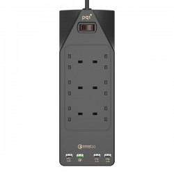 PQI QC3.0 Surge Protector 6 Outlet + 4 USB Ports Extension Cord
