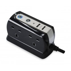 Masterplug USB Charging Surge Protected  2m Extension Lead Power Block with 4 Sockets - Black SRGDU42PB