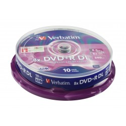 Verbatim  8.5GB 8x DVD+R Double Layer Matt Silver 10 Pack Spindle