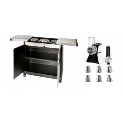 Wansa Salad Chopper & Ice Cream Maker - (VC02S) + Wansa Food Warmer Trolley (TY-6001) - Brushed Steel