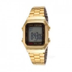 Casio Digital Gents Watch 34mm GMO with Metal Strap (A178WGA-1ADF) - Gold