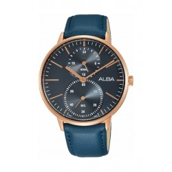 Alba 38mm Quartz Analog Gent's Leather Watch (A3A008X1) - Blue