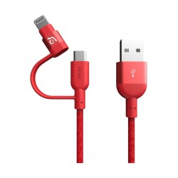 Adam Element 20CM Lightning & micro-USB 2 in 1 Cable - Red