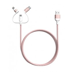 Adam Elements PeAk II Trio 120CM Lightning, micro USB & Type C Cable - Rosegold