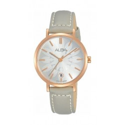 Alba Quartz 32mm Analog Ladies Leather Watch (AG8J14X1) - Silver