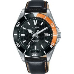 Alba 41.5mm Analog Gents Leather Watch (AG8J41X1) - Black