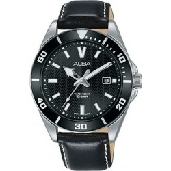 Alba 41.5mm Analog Gents Leather Watch (AG8J43X1) - Black