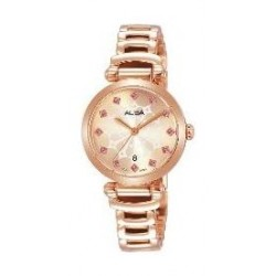Alba Ladies Christmas Fashion Analog 28 mm Metal Watch (AH7N78X1) - Rose-Gold