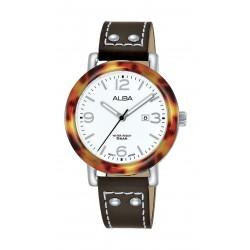 Alba Ladies Fashion Analog 33.5 mm Leather Watch (AH7P41X1) - Brown