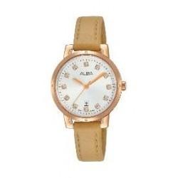 Alba Ladies Fashion Analog 30 mm Leather Watch (AH7P56X1) - Biege