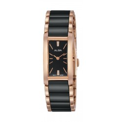 Alba Ladies Fashion Analog 17.5mm Metal Watch (AJ5038X1) - Black/Rose-Gold