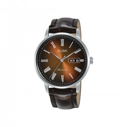 Alba 40mm Analog Gents Leather Watch (AL4135X1) - Dark Brown