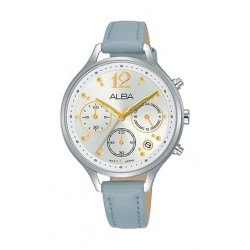 Alba 36mm Chronograph Ladies Leather Fashion Watch - AT3F09X1