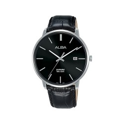 Alba 40mm Analog Gent's Leather Watch (AS9G69X1) - Black