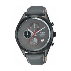 Alba 43mm Chronograph Gent's Leather Watch (AM3571X1) - Grey