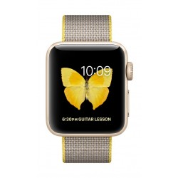Apple Watch Series 2 38mm Gold Aluminum Case with  Yellow/Light Grey Woven Nylon Band
