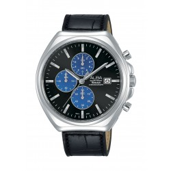 Alba Gents Casual Chronograph 43.5 mm Leather Watch (AM3483X1) - Black