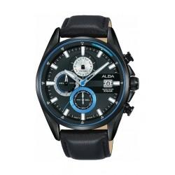 Alba Quartz 43mm Chronograph Gent's Leather Sports Watch (AM3583X1) - Black